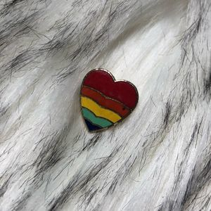 Vintage Striped Rainbow Heart Brooch Pin